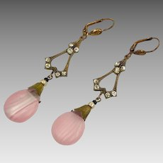 Pink Earrings, Czech Glass, Filagree, Brass, 1930s, Vintage, Art Nouveau Style, Long, Glass Beads, Pierced, Bohemian, Beaded, Big, Large