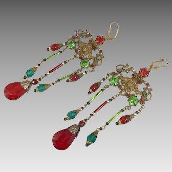Art Nouveau Earrings, Goddess, Czech Glass, Red, Brass, Vintage Earrings, NOS, 20s, 30s, Long Beaded, Big, Huge, Bohemian, Statement