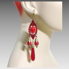 Art Nouveau, Vintage Earrings, Cameo, Czech Glass, Brass, Red, Statement, Long Beaded, Glass Beads, Exotic, Massive, Big