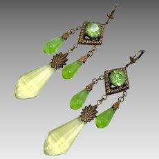 Art Deco Earrings, Vintage Earrings, Czech Glass, Brass, Yellow, Green, NOS, 1930s