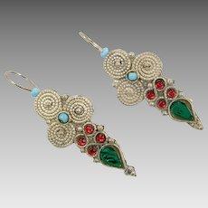 Boho Earrings, Vintage Earrings, Middle Eastern, Kuchi Gypsy, Silver Metal, Turquoise, Green, Red, Afghan Jewelry, Bohemian, Statement