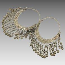 Big Hoops, Kuchi Earrings, Vintage Earrings, Middle Eastern, Patina, Silver Brass, Ear Weights, Afghan
