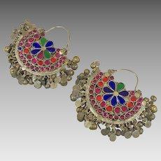 Hoop Earrings, Boho, Kuchi Earrings, Ear Weights, Pink, Blue, Pierced, Silver, Patina, Ethnic Jewelry, Big Festival, Tribal Afghan, Bohemian
