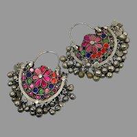 Hoop Earrings, Boho, Kuchi Earrings, Ear Weights, Pink, Rainbow, Pierced, Silver, Patina, Ethnic, Tribal, Afghan, Bohemian