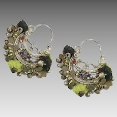 Hoop Earrings, Afghan, Kuchi Earrings, Ear Weights, Vintage Earrings, Red, Middle Eastern, Pierced, Silver, Patina, Ethnic Jewelry