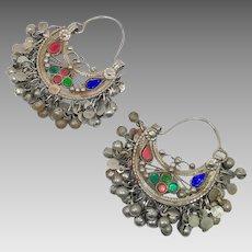 Earrings, Hoop Earrings, Ear Weights, Vintage Earrings, Middle Eastern, Afghan, Pierced, Silver, Red Blue, Green