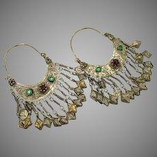 Gypsy Earrings, Hoops, Kuchi, Afghan, Vintage Earrings, Silver, Boho, Middle Eastern, Big, Jeweled, Ethnic, Tribal