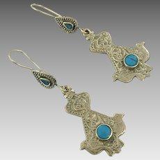 Bird Earrings, Afghan Earrings, Vintage Earrings, Brass, Mixed Metal, Kuchi, Green Jasper, Gypsy, Boho Jewelry, Dangle, Festival Jewelry