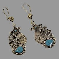 Peacock Earrings, Bird Earrings, Afghan, Turquoise, Vintage Earrings, Middle Eastern, Big, Brass, Kuchi, Pierced