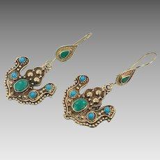 Afghan Earrings, Green, Turquoise Earrings, Vintage Earrings, Kuchi Gypsy, Brass, Silver, Statement, Long Dangle, Mixed Metal