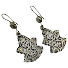 Etched Earrings, Silver, Afghan Jewelry, Vintage Earrings, Kuchi, Pierced, Dangles, Gypsy, Big, Boho, Festival Jewelry, Ethnic, Tribal
