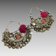Afghan Earrings, Kuchi Earrings, Ear Weights, Vintage Earrings, Red, Pierced, Silver Metal, Old, Middle Eastern