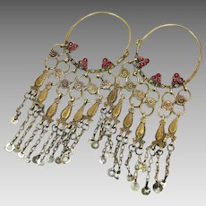 Afghan Earrings, Big Hoops, Kuchi, Vintage Earrings, Ear Weight, Brass, Middle Eastern
