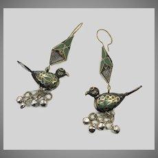 Bird Earrings, Green Enamel, Vintage Earrings, Middle Eastern, Gypsy, Turkmen, Long, Boho Statement, Bohemian, Large Big, Pierced Dangles