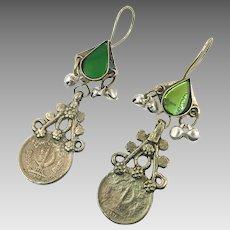 Coins Earrings, Dangle Earrings, Vintage Earrings, Green Mirrors, Kuchi Jewelry, Gypsy Boho, Mixed Metals, Ethnic Tribal, Long Statement