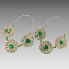 Big Hoop Earrings, Gypsy Jewelry, Green, Brass Earrings, Afghan Jewelry, Boho, Bohemian, Statement, Ethnic Tribal, Festival, Hippie Chic