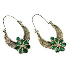 Big Hoops, Kuchi Earrings, Brass, Green, Vintage Earrings, Middle Eastern, Festival, Ethnic Tribal, Afghan Jewelry