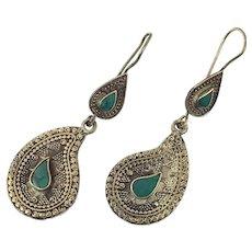 Afghan Earrings, Green Stone, Jasper, Paisley Shaped, Kuchi Gypsy, Boho Jewelry, Big, Festival, Statement, Brass, Dangle, Kazakh Kazakhstan