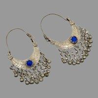 Gypsy Hoops, Kuchi Dangles, Blue Jewels, Vintage Earrings, Middle Eastern, Ethnic Tribal, Afghan