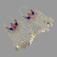 Big Kuchi Earrings, Afghan Hoops, Gypsy Dangles, Vintage Earrings, Silver, Ethnic Tribal, Long, Boho Statement, Huge Hoops, Blue Red, Boho