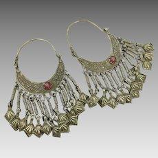 Afghan Earrings, Big Hoops, Vintage Earrings, Patina, Red Jewel, Kuchi, Brass Silver, Mixed Metal, Old, Dangles, Boho Statement, Large, Huge