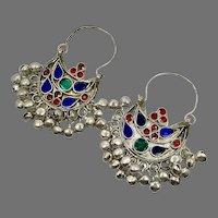 Hoop Earrings, Afghan, Kuchi Earrings, Vintage, Middle Eastern, Jewels, Blue, Pierced, Silver
