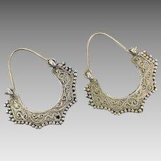 Etched Earrings, Hoops, Silver, Afghan Jewelry, Vintage Earrings, Kuchi, Pierced, Gypsy, Big, Boho, Festival Jewelry, Ethnic, Tribal