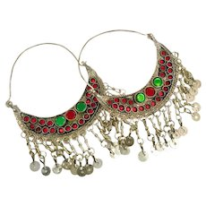 Gypsy Hoops, Kuchi Earrings, Big Dangles, Silver, Red, Vintage Earrings, Festival, Ethnic Tribal, Afghan Jewelry, Boho Statement, Green