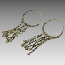Afghan Earrings, Big Hoops, Vintage Earrings, Middle Eastern, Old Patina, Kuchi, Brass Silver, Dangles, Boho Statement, Large, Huge
