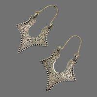 Etched Earrings, Hoops, Silver Hoops, Afghan Jewelry, Vintage Earrings, Middle Eastern, Kuchi, Pierced