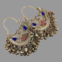 Hoop Earrings, Ear Weights, Afghan, Kuchi Earrings, Vintage, Middle Eastern, Blue, Pierced, Silver, Patina