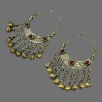 Gypsy Hoops, Afghan, Kuchi, Red Jewels, Vintage Earrings, Middle Eastern, Ethnic Tribal