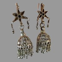 Jhumka Earrings, Old Silver, Kashmir Earrings, Vintage Earrings, Heavy Silver, Bell Earrings, Pakistan Jewelry, Pierced, Dangle