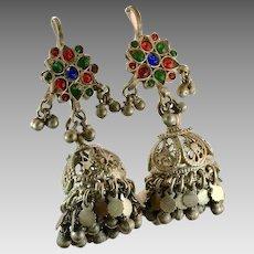 Jhumka Earrings, Afghan Earrings, Vintage Earrings, Tassels, Ear Weights, Middle Eastern, Kuchi, Gypsy, Boho, Statement, Belly Dance, Big