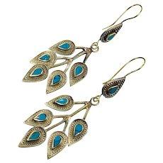 Lapis Earrings, Afghan, Kuchi, Blue, Vintage Earrings, Boho Gypsy, Bohemian, Ethnic Tribal