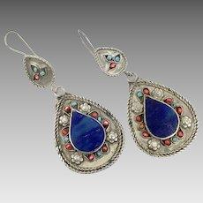 Lapis Earrings, Vintage Earrings, Silver, Kuchi Gypsy, Blue, Turquoise, Boho, Pierced Dangle, Afghan Jewelry, Bohemian, Statement, Big Long