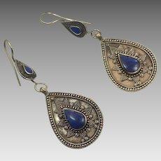 Lapis Earrings, Blue Stone, Vintage Earrings, Kuchi, Boho Gypsy, Kazakh, Kazakhstan, Afghan Jewelry, Bohemian, Brass, Ethnic Tribal