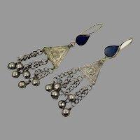Blue Lapis Earrings, Afghan Earrings, Vintage Earrings, Middle Eastern, Kuchi Jewelry, Nomadic Gypsy
