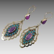 Boho Earrings, Purple Earrings, Vintage Earrings, Turquoise, Afghan, Middle Eastern, Long, Bohemian, Kuchi, Gypsy, Statement, Massive, Big