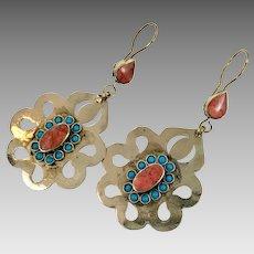 Boho Earrings, Vintage Earrings, Middle Eastern, Kuchi Gypsy, Turquoise, Pierced Dangle, Afghan Jewelry, Big Statement, Large Big Long