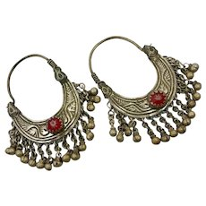 Gypsy Hoops, Kuchi Dangles, Red Jewels, Vintage Earrings, Middle Eastern, Ethnic Tribal, Afghan