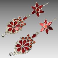 Red Earrings, Kuchi Dangles, Long, Big, Vintage Earrings, Afghan Jewelry, Red Glass, Silver Metal