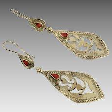 Red Jasper Earrings, Silver Earrings, Red Stone, Vintage Earrings, Kuchi, Middle Eastern, Boho, Gypsy, Pierced, Afghan