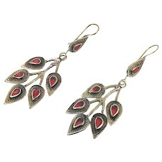 Leaf Earrings, Leaves, Vintage Earrings, Red Jasper, Kuchi Afghan, Boho Jewelry, Bohemian, Dangle Long
