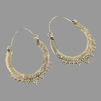 Big Hoop Earrings, Silver Metal, Vintage Earrings, Gypsy, Boho Statement, Ethnic Tribal, Pierced, Bollywood, Middle Eastern, Afghan, Kuchi