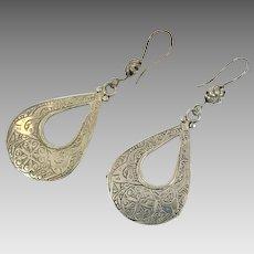Etched Earrings, Deer, Animal, Silver, Afghan Jewelry, Vintage Earrings, Kuchi, Pierced, Dangles, Gypsy
