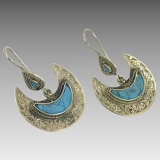Turquoise Earrings, Silver Earrings, Afghan, Crescent, Vintage Earrings, Pierced, Middle Eastern, Kuchi, Boho, Gypsy, Composite Stone, Big