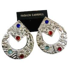 Huge Earrings, 1980s, 80s, Vintage Earrings, NOS, Door Knocker, Oversized, Silver, Pierced, Jewels, Big Statement, Retro, Huge