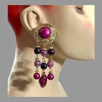 Purple Earrings, 1980s, NOS, Vintage Earrings, Gold, Long Dangle, Pierced, Statement Earrings, Big, Large, Huge