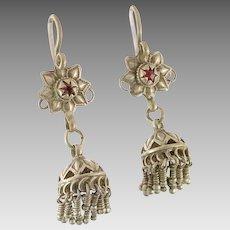 """Jhumka Earrings, Old Silver, Kashmir Earrings, Vintage Earrings, Red, Bell Earrings, Pakistan Jewelry, 2"""" Long, Pierced Earrings, Dangle"""